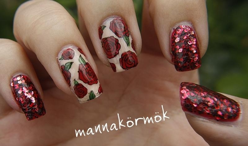 rose nail art nail art by Marianna Kovács