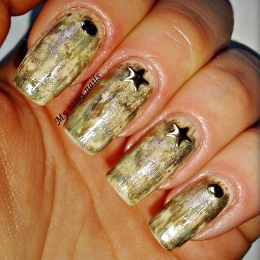 Military distressed nail art nail art by Ewa