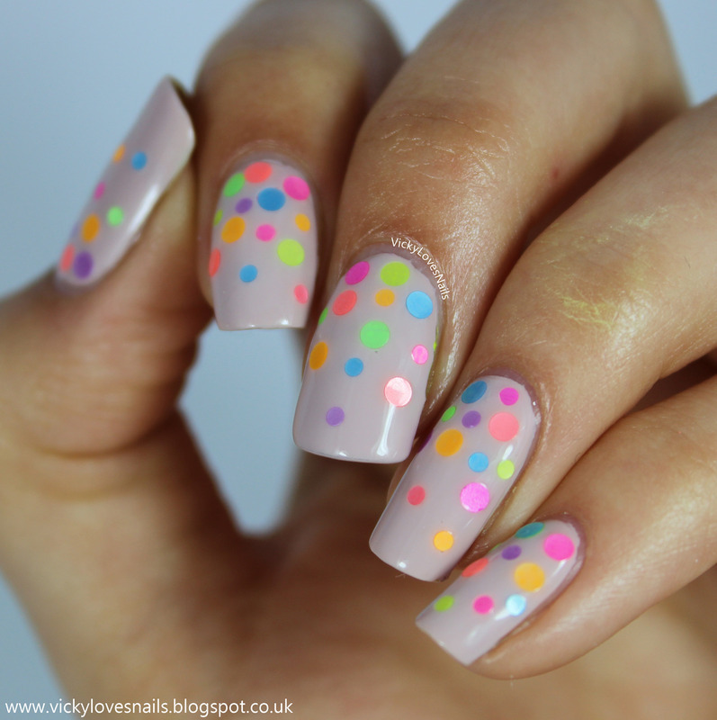 Neon Loose Glitter Gradient nail art by Vicky Standage