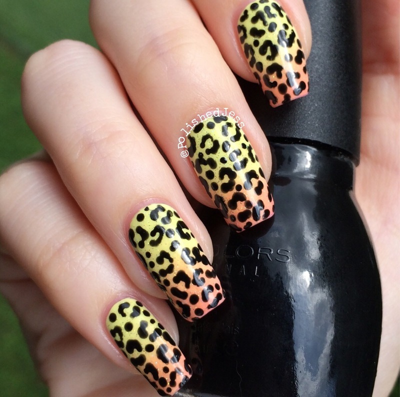 Micro Leopard Print over Sunset Gradient  nail art by PolishedJess