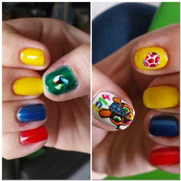 supporting Colombia, playing today nail art by LizzieNobrega