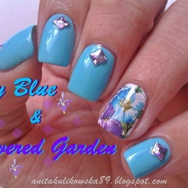 Blue sky & flowered garden nail art by Anita