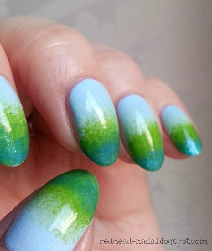 Grassy Gradient nail art by Redhead Nails