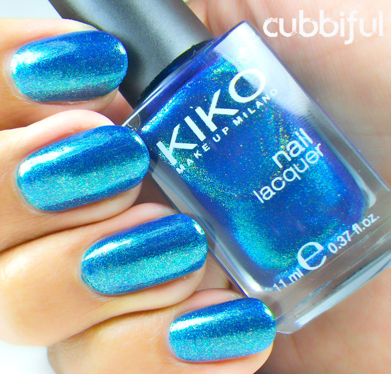 Kiko Pearly Blue Peacock Swatch By Cubbiful