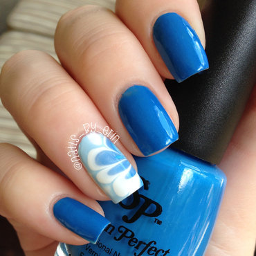 Blue Watermarble Nails nail art by Erin
