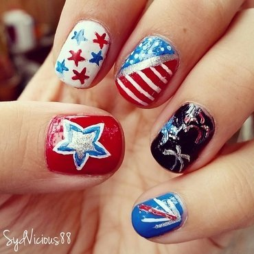 4th of July nail art by SydVicious