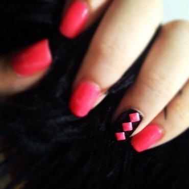 Pink studs nail art by Leslerex