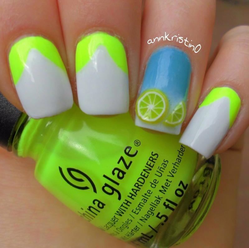 Neon Lemons nail art by Ann-Kristin