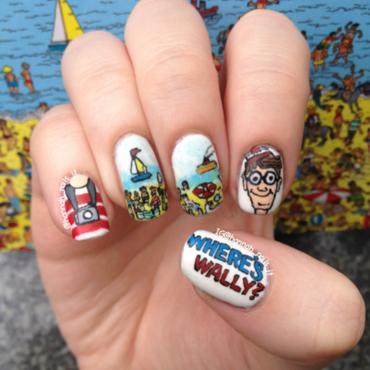 Where's Wally/Waldo? nail art by Hannah