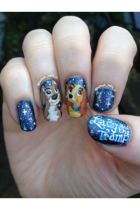 Lady and the Tramp nail art by Hannah