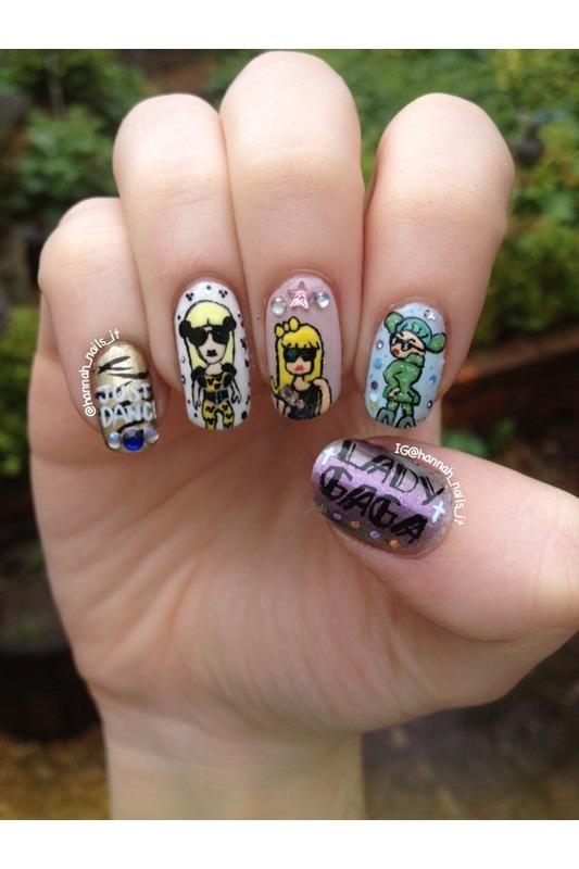 Homage to Gaga nail art by Hannah