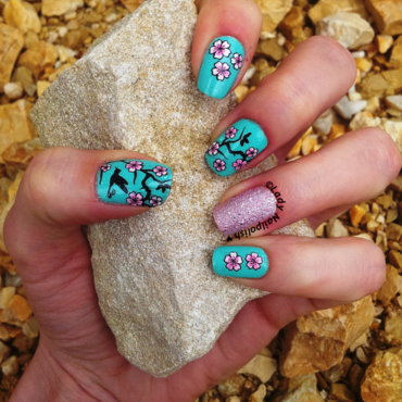 Cherry Blossom Manicure nail art by Lady Nailpolish Nathalie
