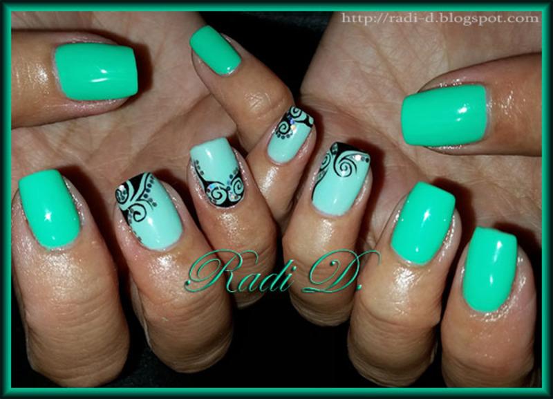 Mint & Green with swirls nail art by Radi Dimitrova