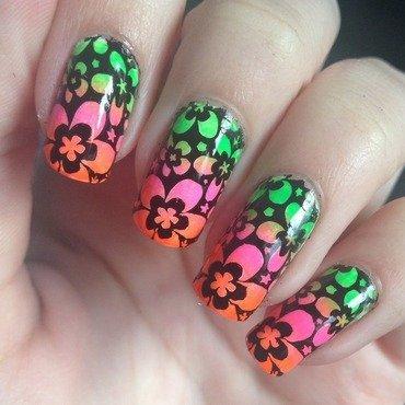 Neon flowers nail art by Marissa Jansen