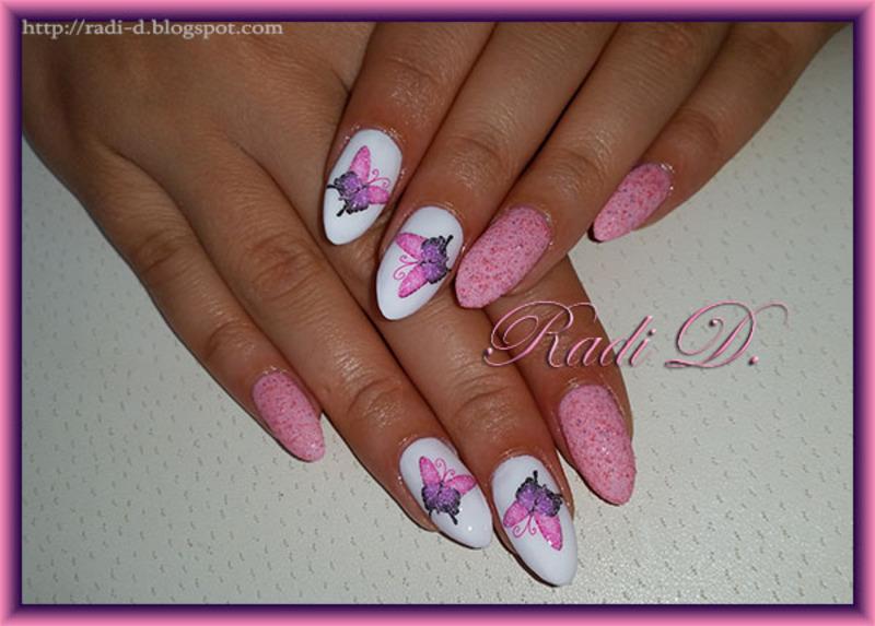 Almond nails with Butterflies nail art by Radi Dimitrova - Nailpolis