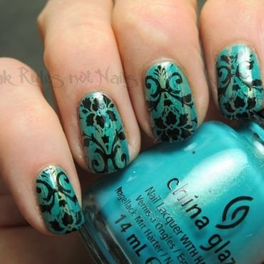 Decorative turquoise  nail art by Michelle