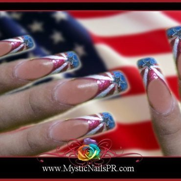 Red White and Blue ♥ by Jennifer Perez nail art by Jennifer Perez ♥ Mystic Nails