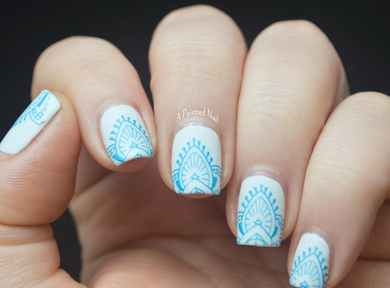 Matte Blue and White  nail art by Bridget Reynolds