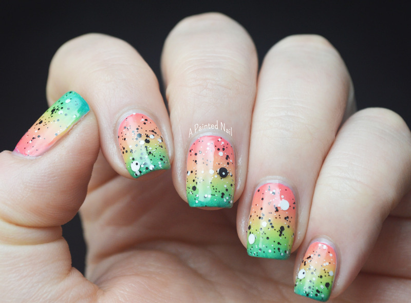 Tropical Gradient with Black & White Glitter nail art by Bridget Reynolds