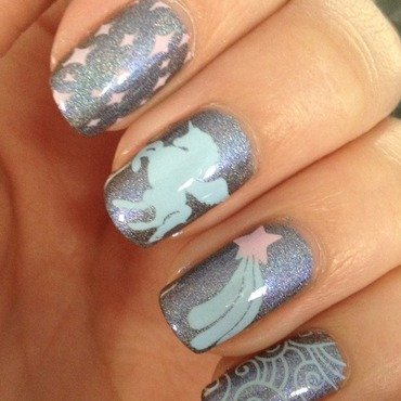 Unicorn in space nail art by Marissa Jansen