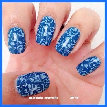 Blue on blue stamping nail art  nail art by Puja Malhotra