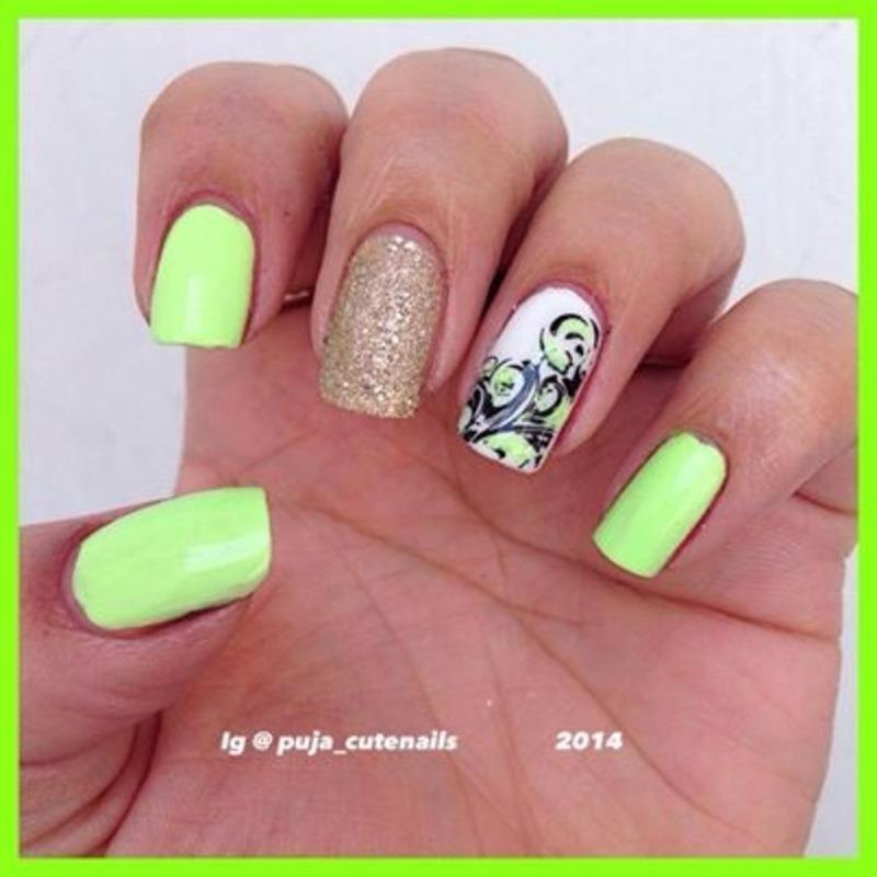 Lime green nails  nail art by Puja Malhotra