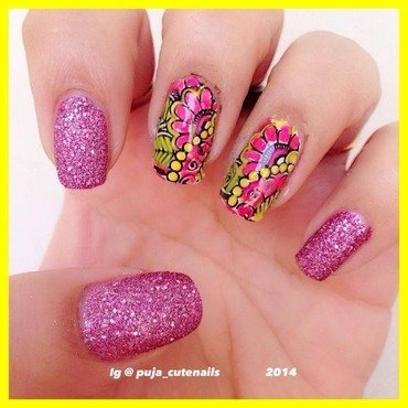 Pretty in pink  nail art by Puja Malhotra