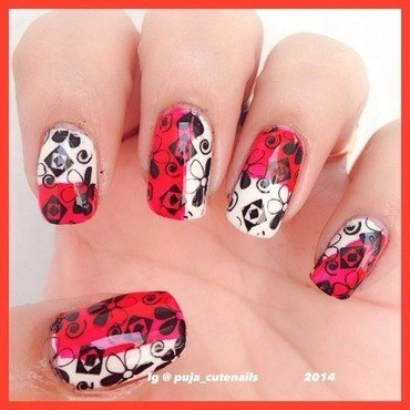 ,red,black, white nail art nail art by Puja Malhotra