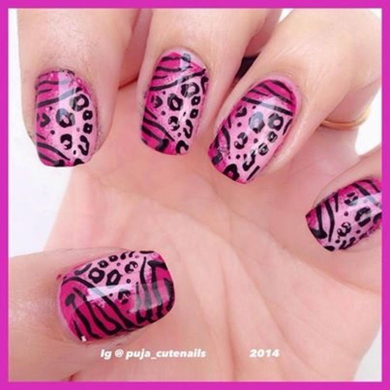 Wild side nail art  nail art by Puja Malhotra