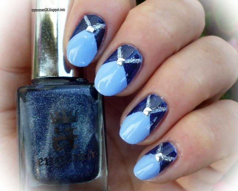 Blue nails nail art by T. Andi