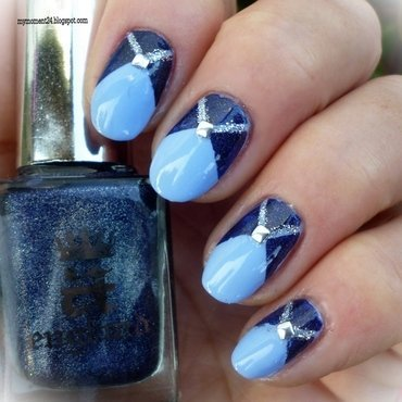 Blue nails nail art by T. Andi