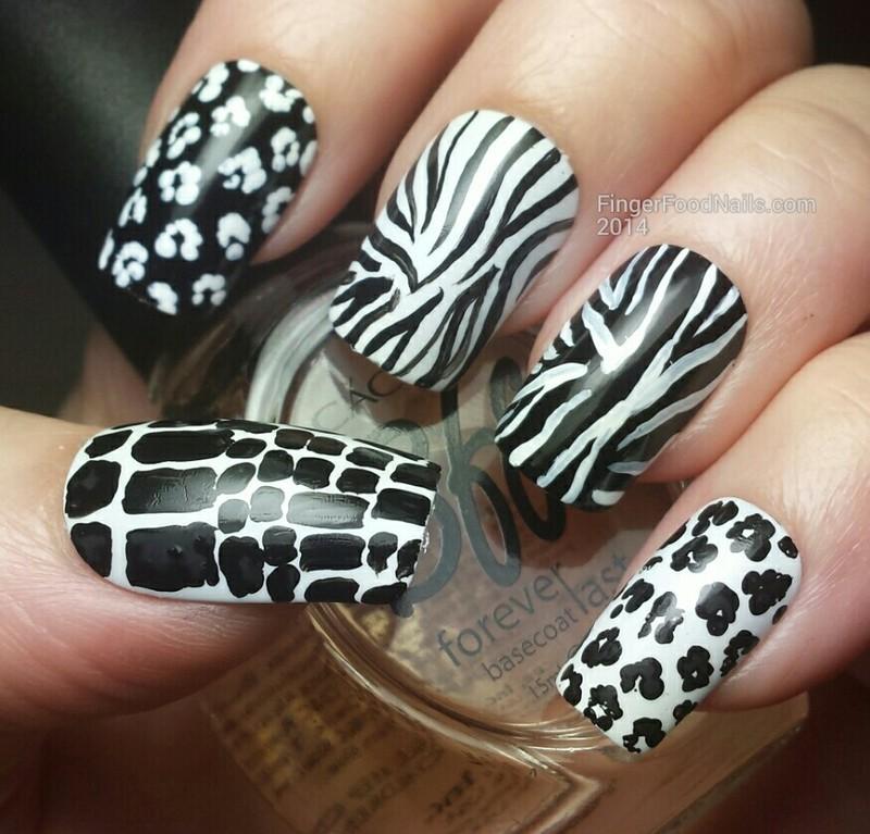 Animal Print Skittles nail art by Sam