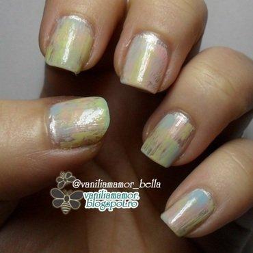Pastel dry brush nail art by Isabella