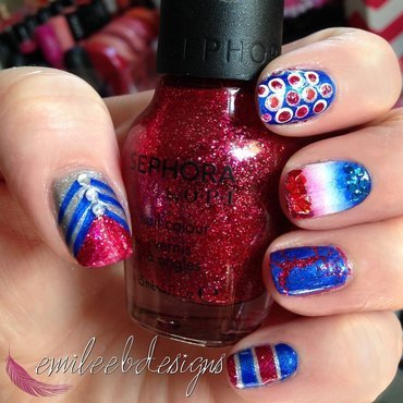 Fourth of July Mani nail art by Emilee