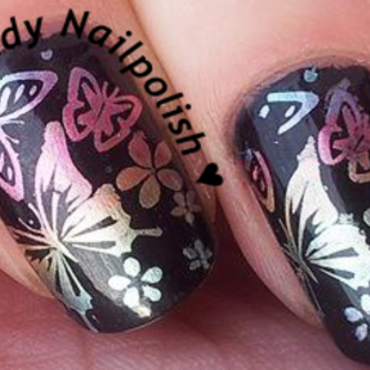 Rainbow Butterflies and Tropical Flowers nail art by Lady Nailpolish Nathalie