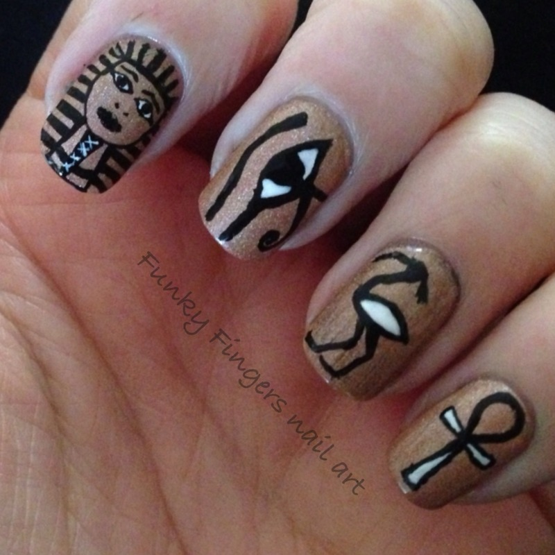 Egyptian nails nail art by Funky fingers nail art - Egyptian Nails Nail Art By Funky Fingers Nail Art - Nailpolis