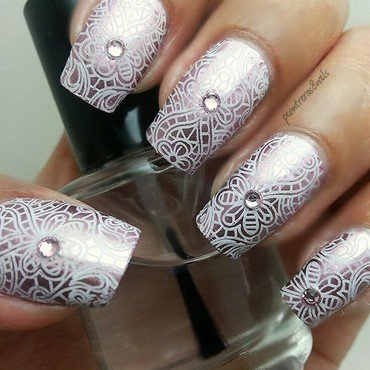 Delicate pink mirrored mani  nail art by pcontreras8nails