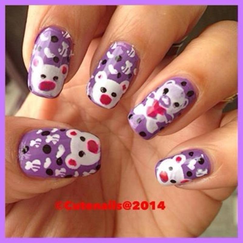 Teddy bear nail art nail art by Puja Malhotra