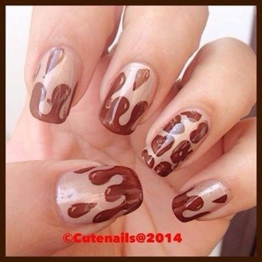 Chocolate drip nail art nail art by Puja Malhotra