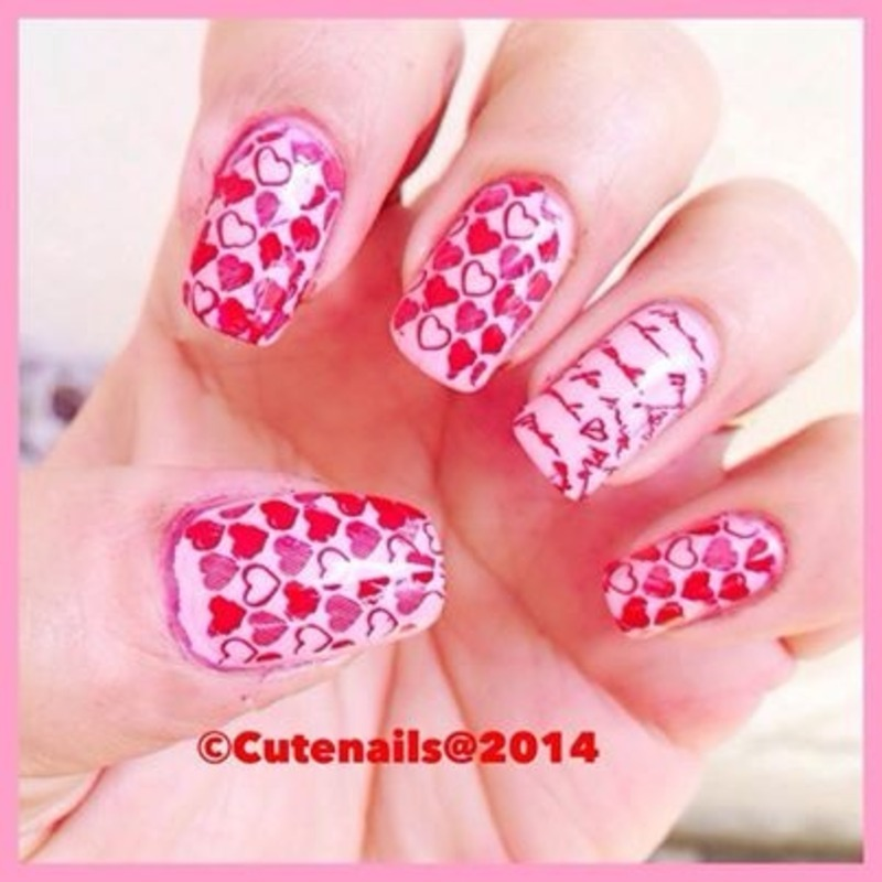 Love letter nails  nail art by Puja Malhotra