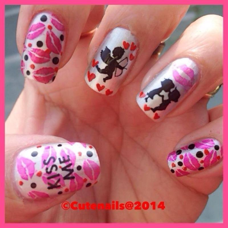 Kiss day nail art nail art by Puja Malhotra