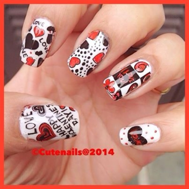 Valentines day nail art nail art by Puja Malhotra