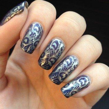Peacock gradient nail art by Marissa Jansen