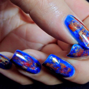 Distressed World Cup nail art by Viv