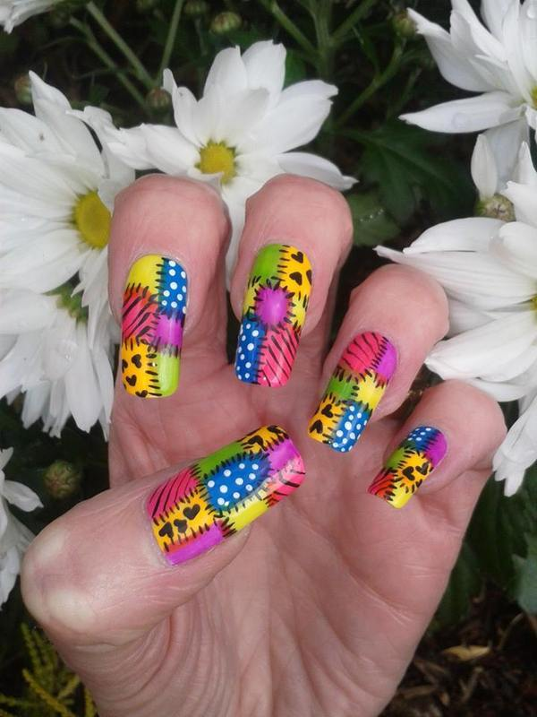 Neon Patchwork  nail art by Tracey - Bite no more