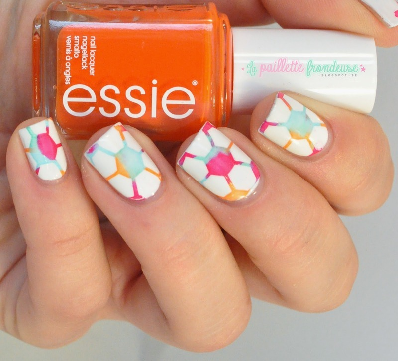 World cup colorful soccer ball nail art by nathalie lapaillettefrondeuse