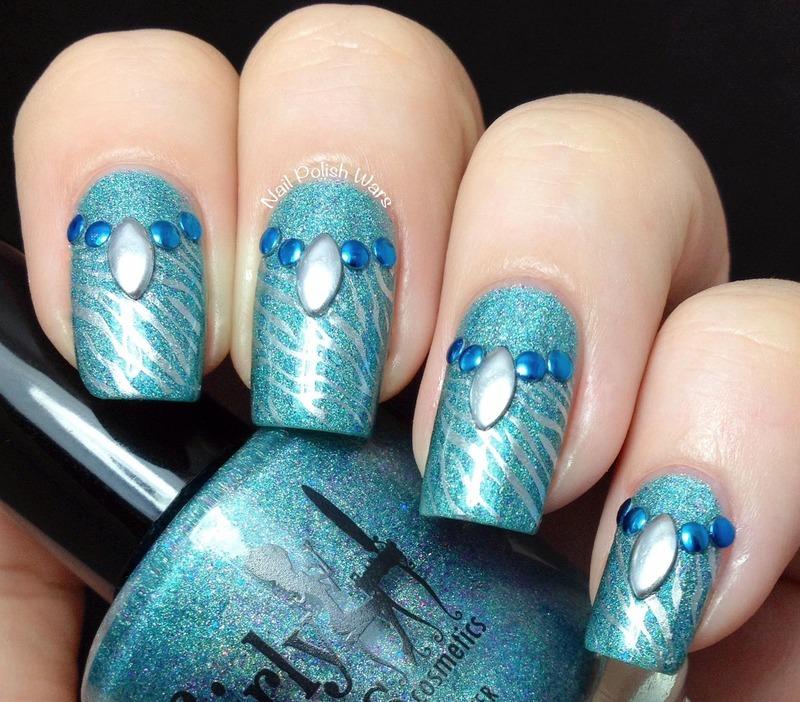 Studded Zebra nail art by Nail Polish Wars
