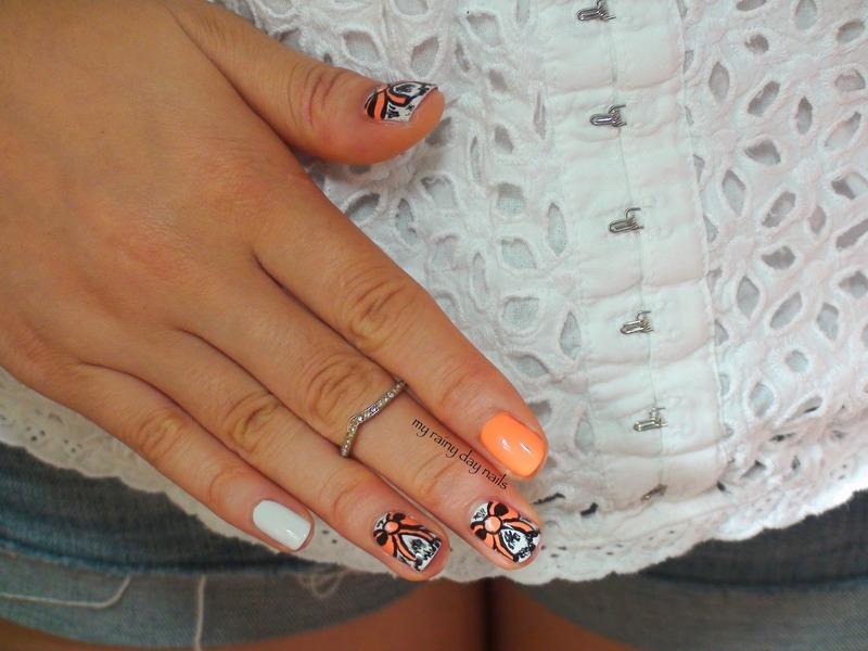 Orange Bow Nail Art nail art by Nova Qi (My Rainy Day Nails)