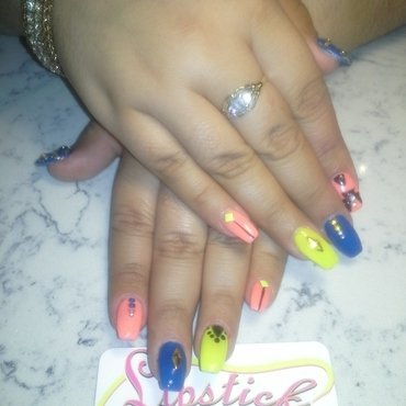 Tribal Nails with stones nail art by Safia Pulliam