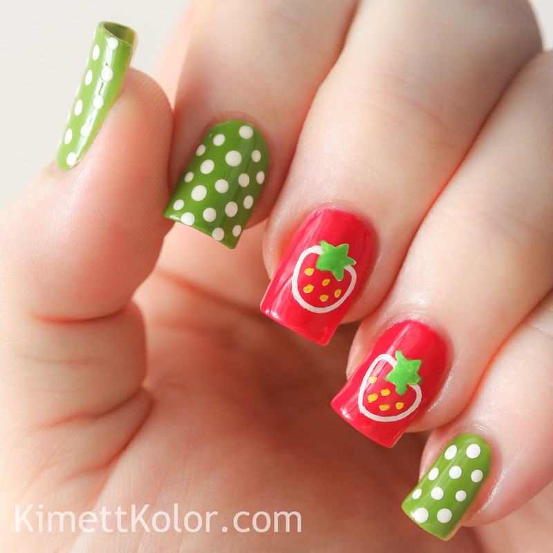 Super Simple Summer Strawberry Stamping nail art by Kimett Kolor